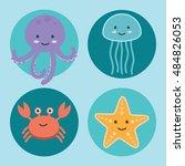 cute ocean animals icons.... | Shutterstock .eps vector #484826053