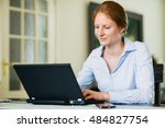 business woman behind a laptop... | Shutterstock . vector #484827754