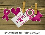 breast cancer awareness card or ... | Shutterstock . vector #484839124