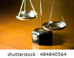 silver scale of justice on... | Shutterstock . vector #484840564