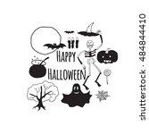 halloween vector banner.... | Shutterstock .eps vector #484844410