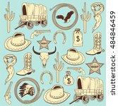 cowboy seamless pattern | Shutterstock .eps vector #484846459