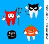 halloween concept of teeth set. ... | Shutterstock .eps vector #484848058