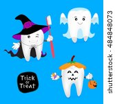 Halloween Concept Of Teeth Set. ...