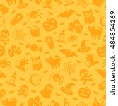 halloween seamless pattern with ... | Shutterstock .eps vector #484854169
