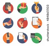 hands with object icons set | Shutterstock .eps vector #484865503