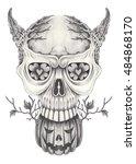art skull devil surreal on...   Shutterstock . vector #484868170