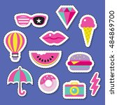trendy fashion chic patches ... | Shutterstock .eps vector #484869700