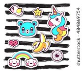 kawaii fashion chic patches ... | Shutterstock .eps vector #484869754