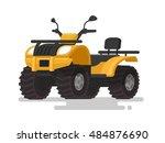 yellow atv. four wheel all...
