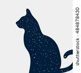 silhouette of cat with space... | Shutterstock .eps vector #484878430