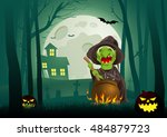 cartoon illustration of a witch ... | Shutterstock .eps vector #484879723