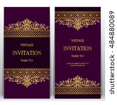 wedding invitation or card with ... | Shutterstock .eps vector #484880089