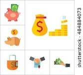 bank icon set | Shutterstock .eps vector #484884073