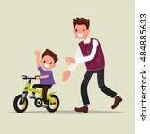 parenting. the father teaches... | Shutterstock .eps vector #484885633