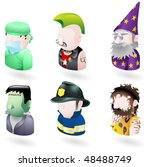 An avatar people web or internet icon set series. Includes a doctor or surgeon, a punk, a wizard or magician, Frankenstein monster, a firefighter or fireman and a caveman. - stock photo