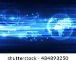 vector digital global... | Shutterstock .eps vector #484893250