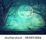 halloween background. spooky... | Shutterstock . vector #484893886