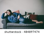 beautiful plus size girl lying... | Shutterstock . vector #484897474