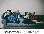 beautiful plus size girl lying... | Shutterstock . vector #484897474