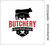 butcher shop black and red logo ... | Shutterstock .eps vector #484903210