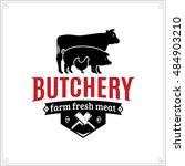 butcher shop black and red logo ... | Shutterstock .eps vector #484903210