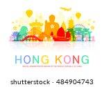 hong kong travel landmarks.... | Shutterstock .eps vector #484904743