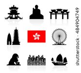 hong kong travel landmarks.... | Shutterstock .eps vector #484904749