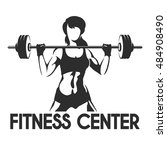 fitness center or gym emblem.... | Shutterstock .eps vector #484908490