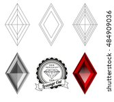 set of lozenge cut jewel views... | Shutterstock .eps vector #484909036