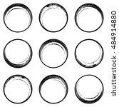 black brush strokes circle... | Shutterstock .eps vector #484914880