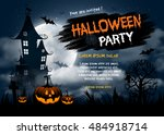 Stock vector halloween night background with pumpkin haunted house and full moon flyer or invitation template 484918714