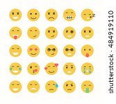 flat emoticon face icons set.... | Shutterstock .eps vector #484919110