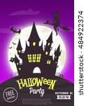 halloween party. vector poster | Shutterstock .eps vector #484922374