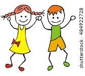 dancing kids  vector icon | Shutterstock .eps vector #484922728