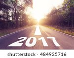 empty asphalt road and new year ... | Shutterstock . vector #484925716