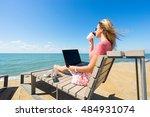 young beautiful woman sitting... | Shutterstock . vector #484931074