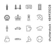 vector london icon set on white ... | Shutterstock .eps vector #484935028