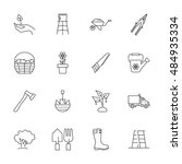 vector gardening icon set on... | Shutterstock .eps vector #484935334