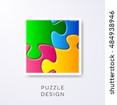 vector colorful puzzle pieces... | Shutterstock .eps vector #484938946