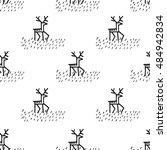 christmas deers. vector... | Shutterstock .eps vector #484942834