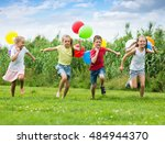 children laught and play in... | Shutterstock . vector #484944370