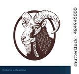 vector goat in ellipse emblem | Shutterstock .eps vector #484945000