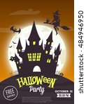 halloween party. vector poster  ... | Shutterstock .eps vector #484946950