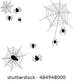 a set of spider web of twine... | Shutterstock .eps vector #484948000