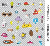 set of patches elements like... | Shutterstock .eps vector #484956280