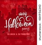 vector halloween party poster... | Shutterstock .eps vector #484956340