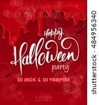 vector halloween party poster...   Shutterstock .eps vector #484956340