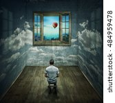 Small photo of Abstract idea with a person sitting in a cloudy room looking to a opened window to another better and colorful world. Way to success symbol. Another reality concept