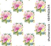 seamless pattern with floral... | Shutterstock .eps vector #484960654
